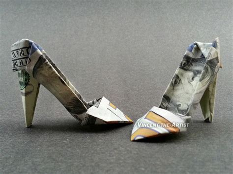 Origami Boot Dollar Bill - 100 bill high heels money origami dollar bill