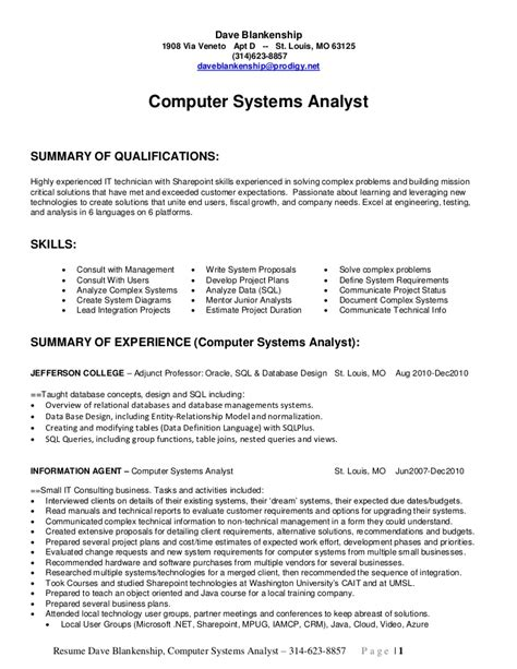 system analyst resume sles sle resume for business analyst finance mba