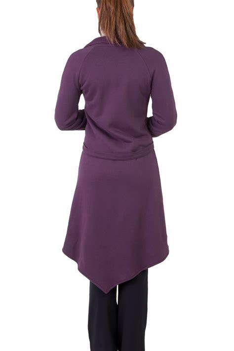 Jaket Viola Aos langer mantel aus 100 bio baumwolle violett