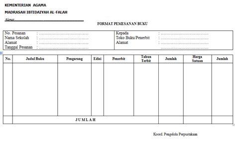 format buku kerja guru format pesanan buku contoh dalam administrasi perpustakaan