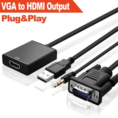 Hd 1080p Hdmi To Vga And Audio Adapter For Promo vga to hdmi converter 1080p hd adapter with audio cable