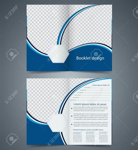 blue bifold brochure template design business leaflet