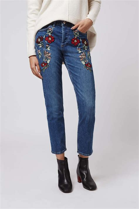 embroidery design jeans moto embroidered straight jeans topshop
