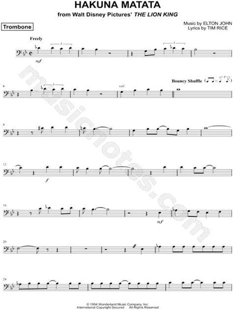 song trombones quot hakuna matata trombone quot from the lion king sheet