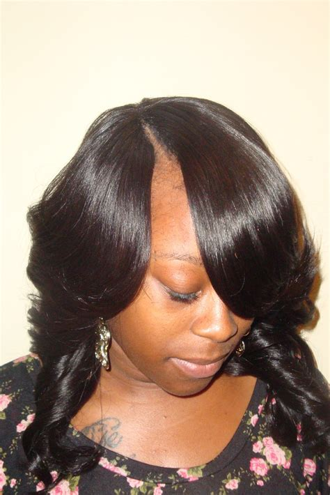 hair do with sew in weave with a part in the middle invisible part sew in weave hairstyles beautiful hairstyles
