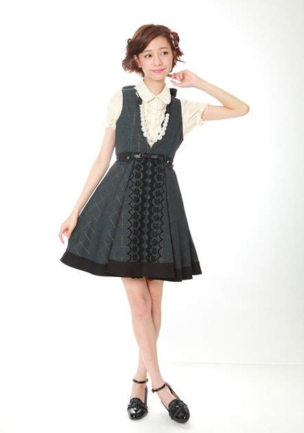 Baju Dress Axes Femme Japan grey checkered otome kei dress from axes femme japanese