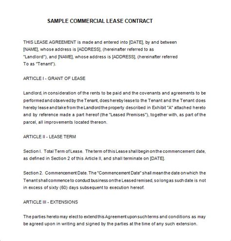commercial rental contract template 9 lease contract templates free word pdf documents