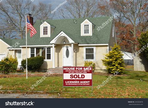american flag pole real estate sold stock photo 244364878