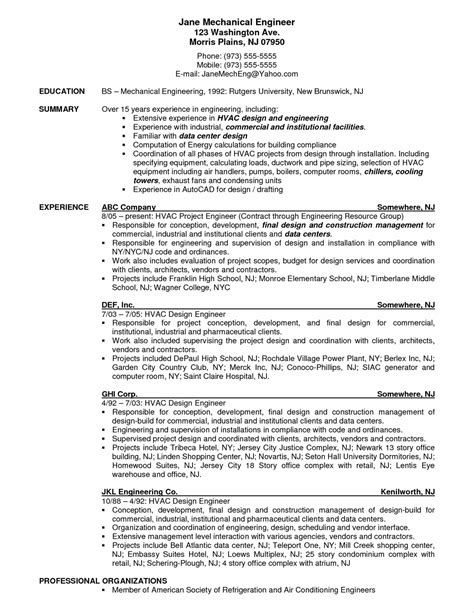 Mechanical Contractor Sle Resume by Mep Mechanical Engineer Resume Resume Ideas