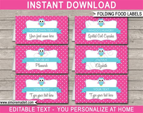 printable party labels pink owl party food labels place cards owl theme
