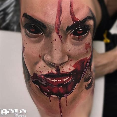 gory face with blood around the mouth best tattoo design