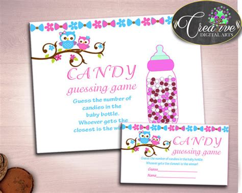 themes for guessing games baby shower owl shower owl theme fun activity food bottle