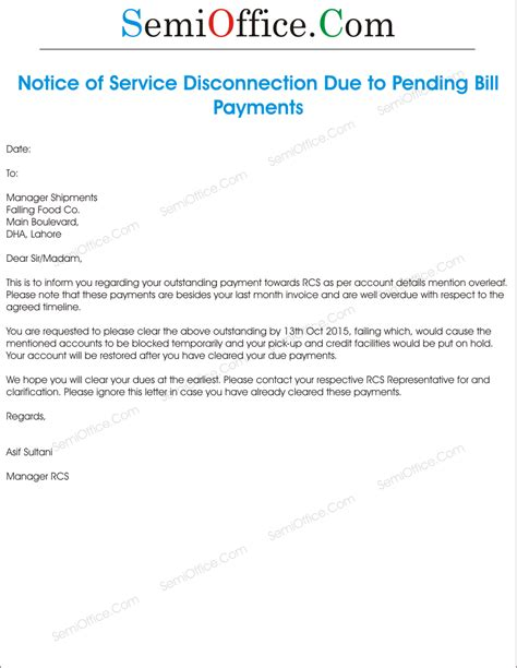 Service Disconnection Letter Exle Sle Notice Of Service Disconnection Due To Bill