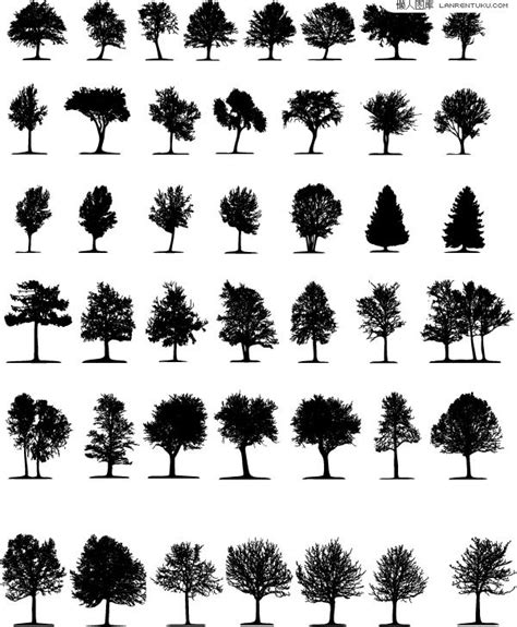 tree symbol font various trees silhouette vector material my free