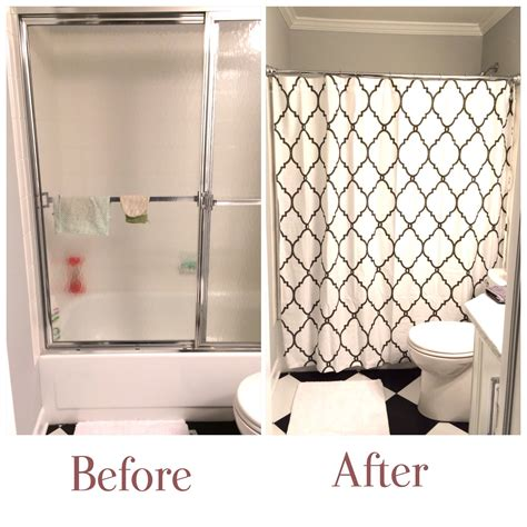 Kept The Ugly Outdated Shower Door And Hide It Behide A Shower Door Or Curtain