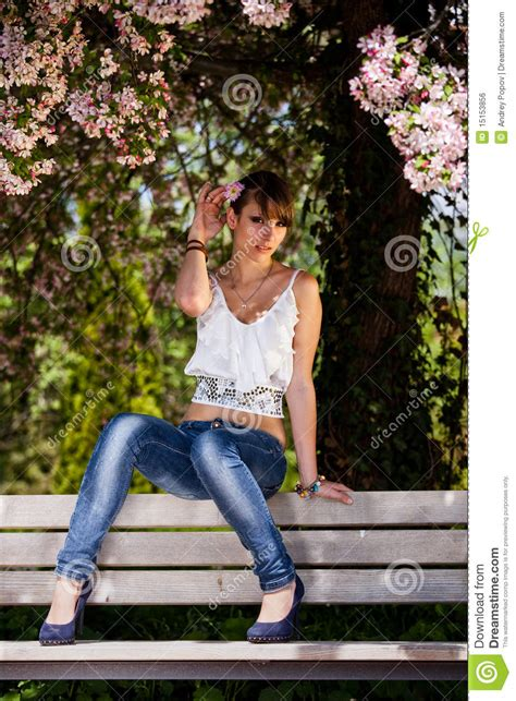 bench girl teeanger girl on a bench royalty free stock image image