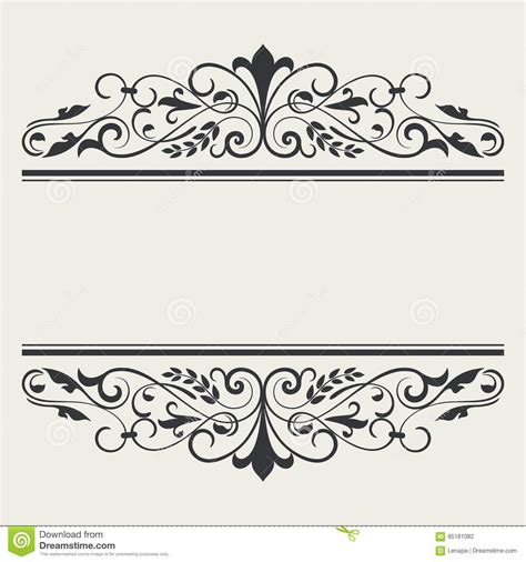 black and white border cards template vintage book or card title borders template stock vector