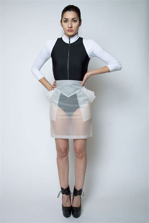 subliminal skirt clear rubber pencil geometric