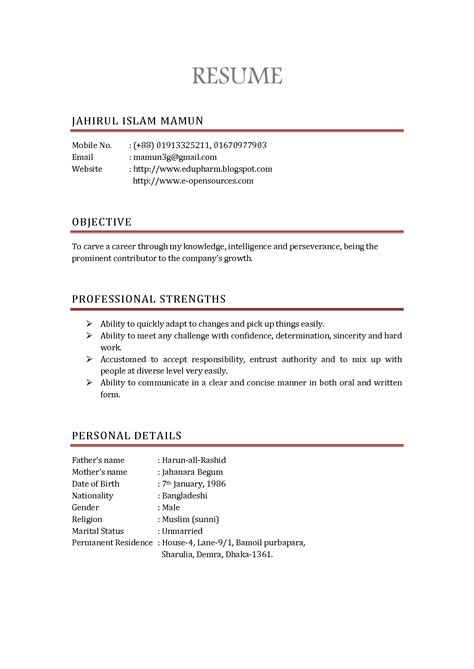 Cv Resume Sle by Sle Resume Format In Canada 28 Images Sle Resume
