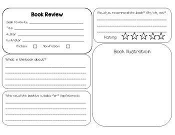 Book Review Template By Miss Hood Teachers Pay Teachers Book Critique Template