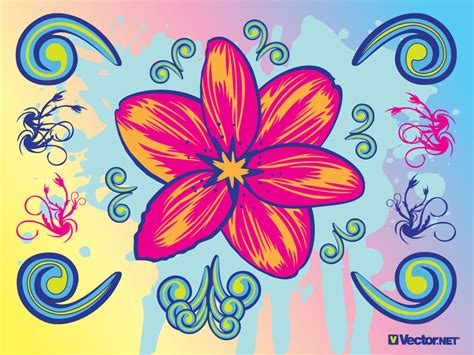beautiful graphic design this flower graphic with cool clip art elements a