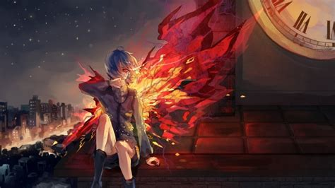 wallpaper kirishima touka wings red eyes transform