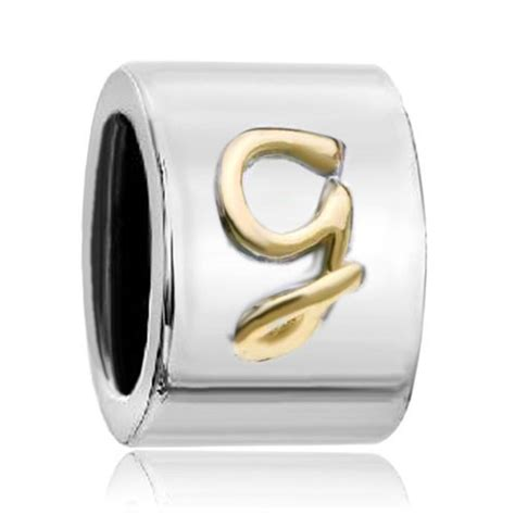 cylindrical shaped letter initial g european charm
