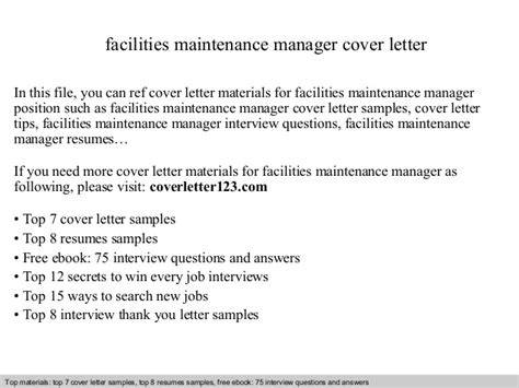 Facilities Manager Cover Letter Facilities Maintenance Manager Cover Letter
