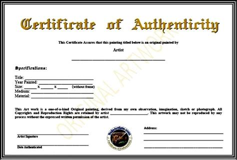 certificate of authenticity template pdf sle templates