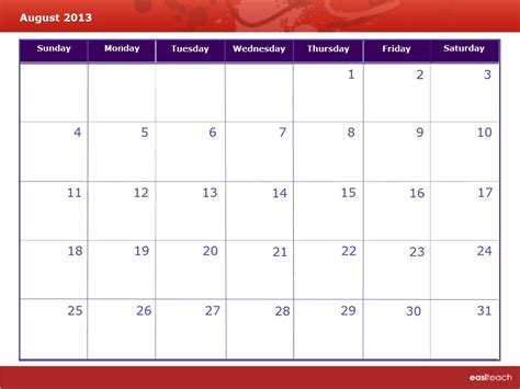 calendar 2013 template template calendar august 2013 rm easilearn us