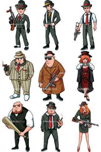 mobster holding a russian submachine gun vector cartoon