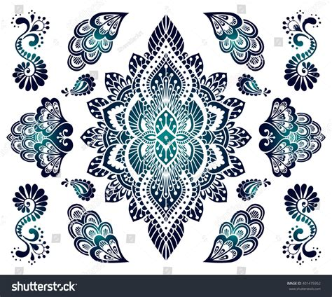 collection of 25 henna fashion handdrawn mehendi ornament set indian henna stock vector