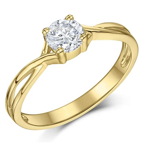 9ct yellow gold half carat solitaire twist