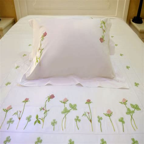 embroidered bedding red clover embroidered bedding set
