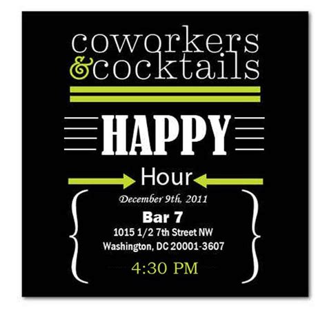 Free Happy Hour Invitation Template Happy Hour Invite Wording Sles Invitation Templates Happy Hour Invites Pinterest