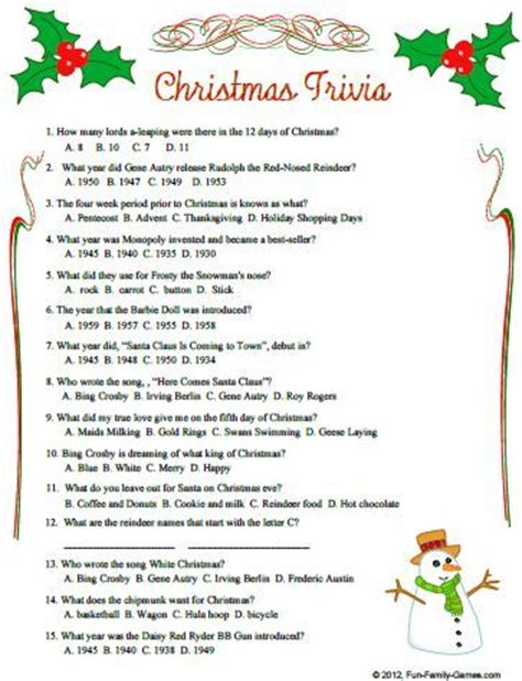 printable christmas trivia quiz with answers christmas trivia questions and answers christmas quiz