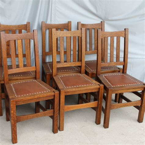 Mission Oak Dining Chairs Bargain S Antiques 187 Archive Arts And Crafts Mission Oak Set Of Six Dining Chairs