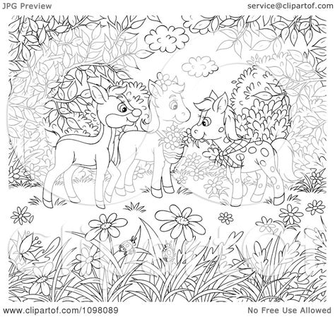 Clipart Coloring Page Of Horses And A Deer In A Meadow Meadow Coloring Page