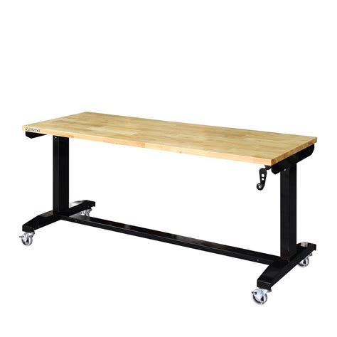 work bench height husky 62 in adjustable height work table holt62xdb12