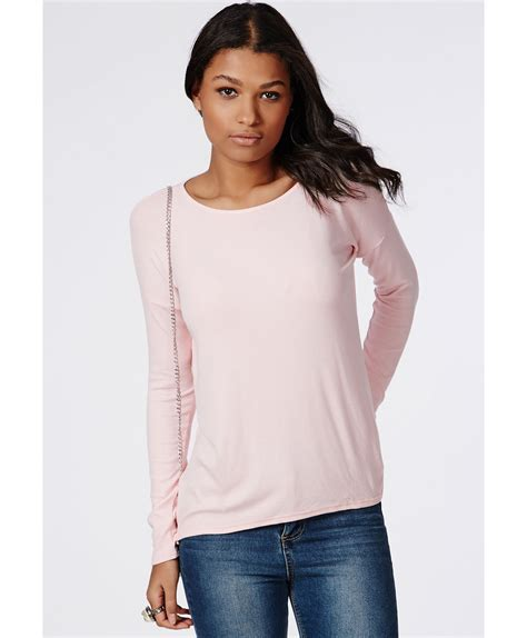 Ballony Top Baby Pink lyst missguided simi sleeve ribbed jersey top baby pink in pink