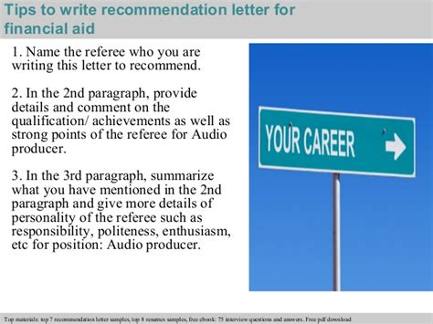 Letter Of Recommendation For Financial Aid Financial Aid Recommendation Letter