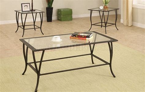 metal frame contemporary 3pc coffee table set w glass