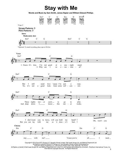stay with me guitar tutorial stay with me sheet music direct