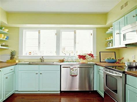blue and yellow painted kitchen cabinet stroovi