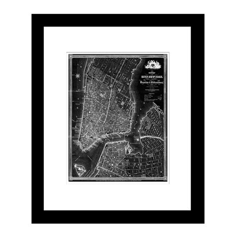 map of new york city framed new york city 1840 19 quot w x 23 quot h x 1 quot d framed vintage