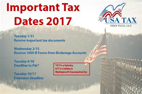 Mba 1 Deadline 2017 by Important Tax Dates For 2017 Usa Tax Prep Plus