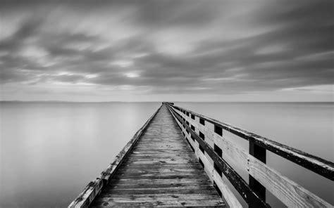 black and white ocean wallpaper lake bridge fog ocean sea black white monochrome sky