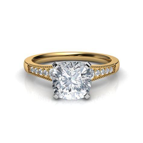 ring cusion graduated milgrain cushion cut diamond engagement ring in