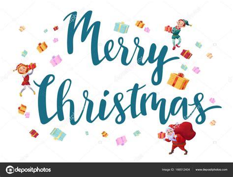 merry christmas letra imagenes feliz navidad tarjeta con letras santa claus duendes