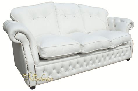 chesterfield white leather sofa era swarovski 3 seater sofa settee traditional